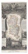1852 Levasseur Map Of The Department Du Rhone France  Beaujolais Wine Region Beach Towel