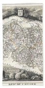 1852 Levasseur Map Of The Department L Allier France  Saint Pourcain Wine Region Beach Towel