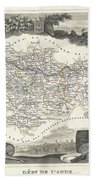 1852 Levasseur Map Of The Department L Aude France Beach Towel