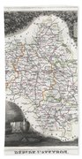 1852 Levasseur Map Of The Department L Aveyron France Roquefort Cheese Region Beach Towel