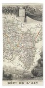 1852 Levasseur Map Of The Department L'ain France Bugey Wine Region Beach Sheet