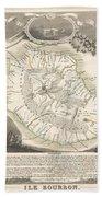 1852 Levasseur Map Of The Reunion Or The Ile Bourbon Indian Ocean Beach Towel