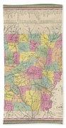 1853 Mitchell Map Of Arkansas Beach Towel