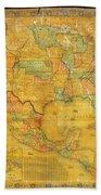 1854 Jacob Monk Wall Map Of North America Beach Towel