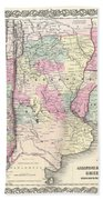 1855 Colton Map Of Argentina Chile Paraguay And Uruguay Beach Towel