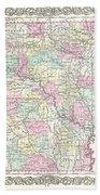 1855 Colton Map Of Arkansas Beach Towel