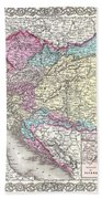 1855 Colton Map Of Austria Hungary And The Czech Republic Beach Towel