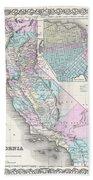 1855 Colton Map Of California And San Francisco Beach Towel