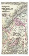 1855 Colton Map Of Canada East Or Quebec Beach Towel