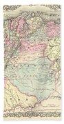 1855 Colton Map Of Columbia Venezuela And Ecuador Beach Towel