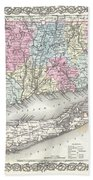 1855 Colton Map Of Connecticut And Long Island Beach Towel