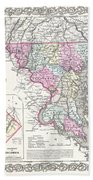1855 Colton Map Of Delaware Maryland And Washington Dc Beach Towel