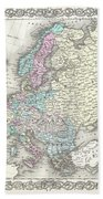 1855 Colton Map Of Europe Beach Towel