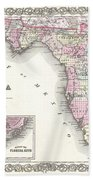 1855 Colton Map Of Florida Beach Towel