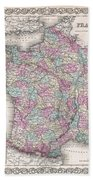 1855 Colton Map Of France Beach Towel