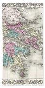 1855 Colton Map Of Greece  Beach Towel