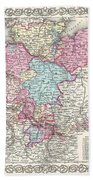 1855 Colton Map Of Hanover And Holstein Germany Beach Towel