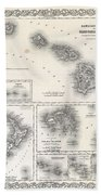 1855 Colton Map Of Hawaii And New Zealand Beach Towel