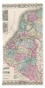 1855 Colton Map Of Holland And Belgium Beach Towel