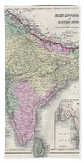 1855 Colton Map Of India Or Hindostan Beach Towel