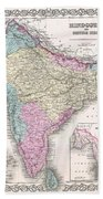 1855 Colton Map Of India Beach Towel