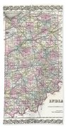1855 Colton Map Of Indiana Beach Towel