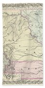 1855 Colton Map Of Kansas And Nebraska  Beach Towel