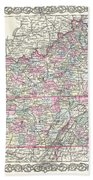 1855 Colton Map Of Kentucky And Tennessee Beach Towel