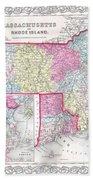 1855 Colton Map Of Massachusetts And Rhode Island Beach Towel