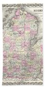 1855 Colton Map Of Michigan Beach Towel