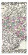 1855 Colton Map Of North Carolina Beach Towel