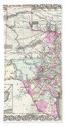 1855 Colton Map Of Texas Beach Towel