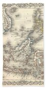 1855 Colton Map Of The East Indies Singapore Thailand Borneo Malaysia Beach Towel
