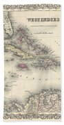 1855 Colton Map Of The West Indies Beach Towel