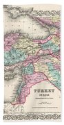 1855 Colton Map Of Turkey Iraq And Syria Beach Towel