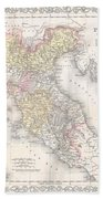 1856 Desilver Map Of Northern Italy Beach Towel