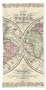 1856 Desilver Map Of The World  Beach Towel