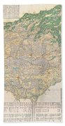 1856 Japanese Edo Period Woodblock Map Of Musashi Kuni Tokyo Or Edo Province Beach Towel