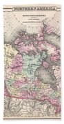 1857 Colton Map Of Canada And Alaska Beach Towel
