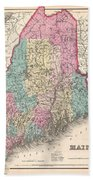 1857 Colton Map Of Maine Beach Towel
