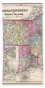 1857 Colton Map Of Massachusetts And Rhode Island Beach Towel