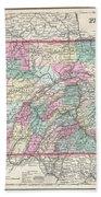 1857 Colton Map Of Pennsylvania Beach Towel