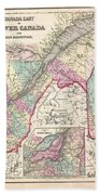 1857 Colton Map Of Quebec And New Brunswick Canada Beach Towel