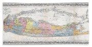 1857 Colton Travellers Map Of Long Island New York Beach Towel