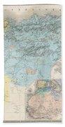 1857 Dufour Map Of Constantine Algeria Beach Towel