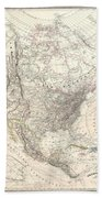 1857 Dufour Map Of North America Beach Towel