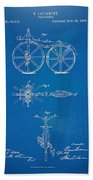 1866 Velocipede Bicycle Patent Blueprint Beach Towel