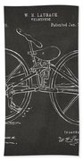 1869 Velocipede Bicycle Patent Artwork - Gray Beach Towel by Nikki Marie Smith