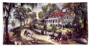 1870s 1800s A Home On The Mississippi - Beach Towel