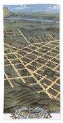1871 Birds Eye Map Of Chattanooga Beach Towel